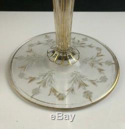 Antique Bohemian Moser Cut & Engraved Gold Gilt 14 1/2 Conical Trumpet Vase