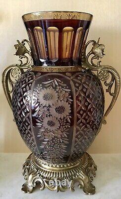 Antique Bohemian Ruby Cut Glass Vase With Gilded Ormoly Base And Handles