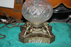 Antique Brilliant Cut Glass Vase Lamp Angel Cherub Metal Base Matthew Craig
