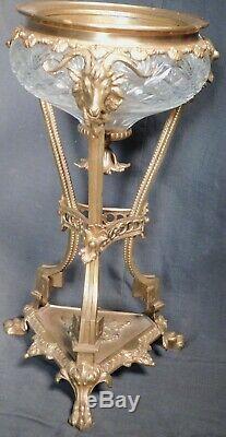 Antique Bronze Cut Crystal Glass Regency Empire Gueridon Rams Head Vase Compote