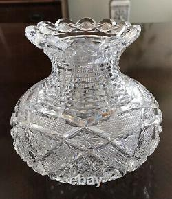 Antique Cut Crystal Vase American Brilliant Period 5.5