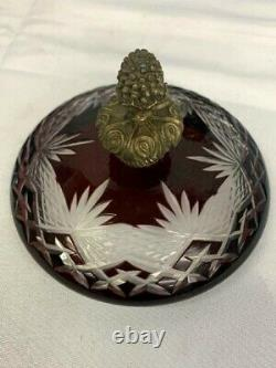Antique Cut-to-Clear Ruby Red Glass and Bronze Urn