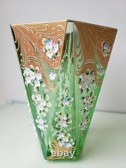 Antique Czech Bohemian Cut Glass Vase