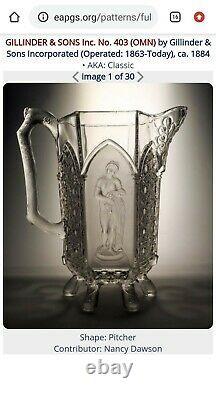 Antique Gillander & Sons EAPG Celery Vase Nude / Fine Cut Panelled Aka Classic