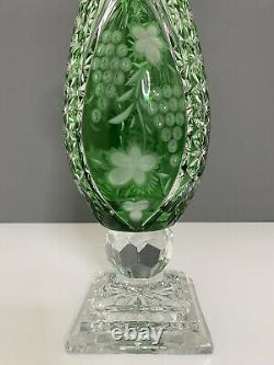 Antique Large Crystal Green Cut to Clear Bohemian Vase Floral Pattern 15.5 In