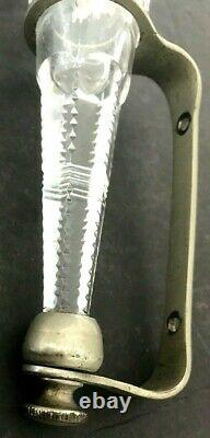 Antique Metal sconce Holder Glass Vase Funeral/Train Car Pressed/Cut Pocket
