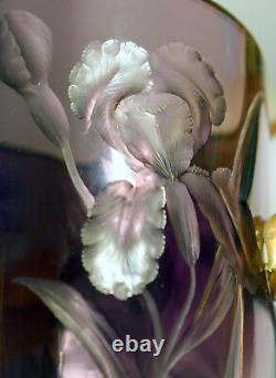 Antique Moser Art Nouveau Amethyst Cut Glass Ear Vase with Lilies