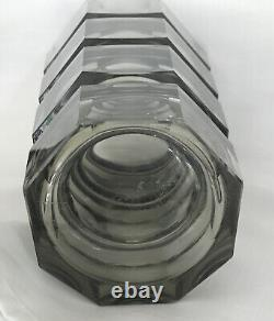Antique Moser Glass Art Deco Smoky Topaz Facet Cut Glass Vase 12 Inch