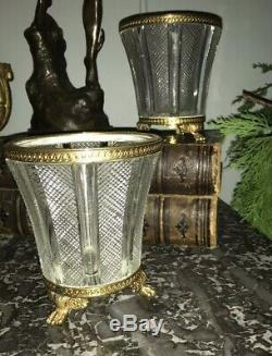 Antique Pair Of Diamond Cut Gilt Trim WithPaw Feet Base/Urns