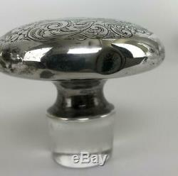 Antique Pair Victorian Cut Crystal Decanter Vase Bottles Sterling Silver Toppers