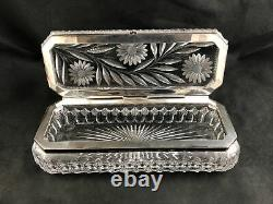 Antique Pairpoint ABP Cut Glass EARLY DAISY Pattern 10 1/2 Glove Box RARE