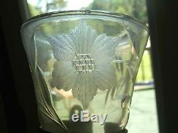 Antique Vintage early cut and etched GLASS Flower CAR VASE w Original Bracket