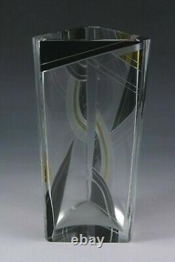 Art Deco Czech Bohemian glass vase enamelled & cut decoration Karel Palda