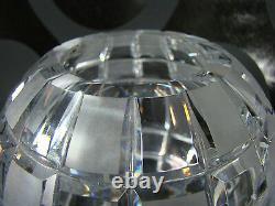 Art Déco Czech Glass Cut Crystal Modernist Globe Vase with Squares Bohemia 1930s