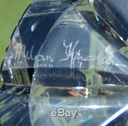 BLACK HARLEQUIN MASTERWORK (2007) CAESAR CRYSTAL BOHEMIA Cut Glass Vase CZECH