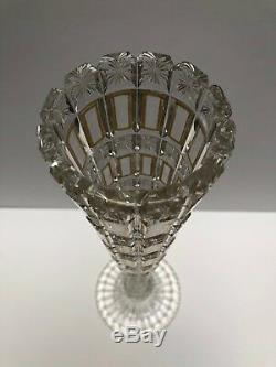 Baccarat Antique Vase Clear Cut With Diamond Design And Gold