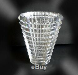 Baccarat clear art glass oval shape vase in EYE design marked