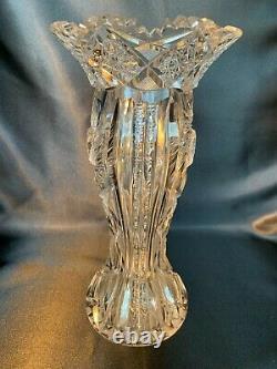 Beautiful Large Antique American Brilliant Period Cut Glass Vase Unusual Shape