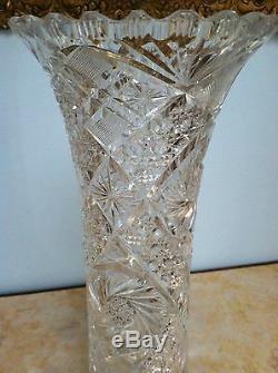 Beautiful Victorian Hand Cut Crystal American Brilliant Tall Rose/Sunflower Vase