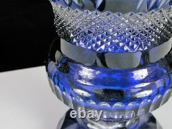 Beautiful Vintage Cobalt Blue Cut To Clear Bohemian Czech Glass Vase Daisy