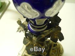 Biedermeier Period Blue Cut to White to Clear Vase with Ornate Silver Base