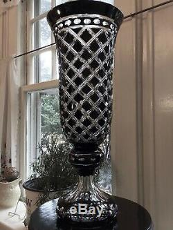 Bill Healy Crystal Black Cut to Clear 21 Vase / Ex. Waterford Master Cutter NJ