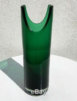 Blenko Nile Green 5942-s 1959 Only U-cut Cylinder Vase Wayne Husted Design