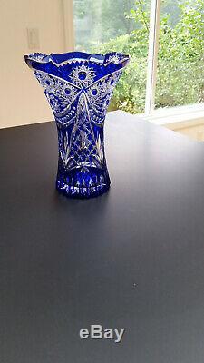 Blue Cobalt Clear Cut Crystal Vase