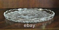 Bohemia Czech Vintage Crystal Plate, 11 Wide, hand cut, Queen Lace