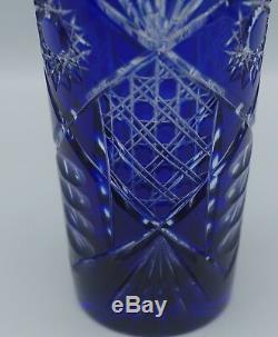 Bohemian Cobalt Cut To Clear Cut Glass Vase 8.75