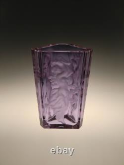 Bohemian Czech Art Deco Alexandrite Cut Glass Vase Nude Dancing Girls Schlevogt