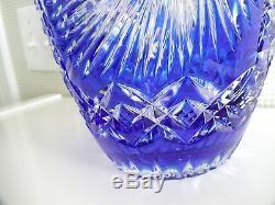 Bohemian Czech Cobalt Blue 10 Cut to Clear Glass Crystal Vase EUC