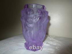 Bohemian Czech Nude Frosted Crystal Vase Hand Cut 2 Labels Changes Color MINT