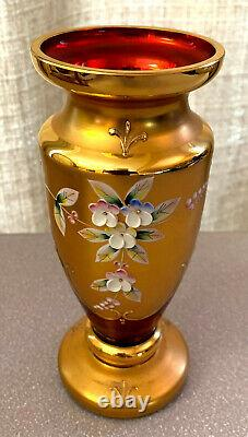 Bohemian Czech Red Cranberry 24k Gold Enamel Hand Cut Crystal Vase Raised Enamel
