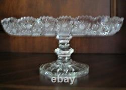 Bohemian Czech Vintage Crystal 10 Square Pedestal Plate Hand Cut Queen Lace