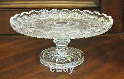 Bohemian Czech Vintage Crystal 11 Pedestal Platter Hand Cut Queen Lace 24% Lead