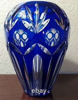 Bohemian Czech Vintage Handmade Heavy Cut to Clear Cobalt Blue Crystal Vase 10