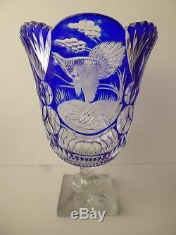 Bohemian Czech cut glass vase Cobalt blue/clear