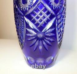 Bohemian Czech vintage hand wheel cut to clear cobalt blue glass crystal vase
