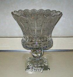 Bohemian Rare Design Czech Crystal Hand Cut Queen Lace Flower Vase 11 x 9 WOW