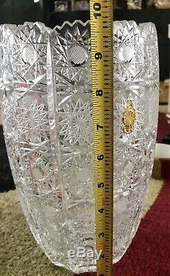 Bohemian Szech Crystal Hand Cut 10 Vase Queen Lace