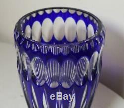 Bohemian vintage hand wheel cut to clear cobalt blue glass tall crystal vase