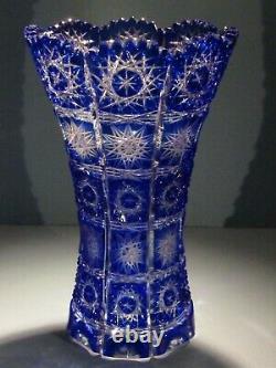 CAESAR CRYSTAL Blue Vase Blown Cut to Clear Overlay Czech Bohemia Cased Czech