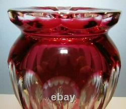CAESAR CRYSTAL Red Vase Hand Cut to Clear Overlay Czech Bohemian Cased Blown