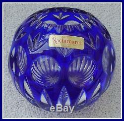 COBALT BLUE Rose Bowl Vase CUT TO CLEAR Lead CRYSTAL Nachtmann GERMANY Bamberg