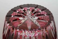 CRANBERRY Cut-To-Clear BOHEMIAN / CZECH LARGE CRYSTAL VASE SPECTACULAR