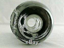 Caesar Crystal Bohemian Frost Vase Black Clear to Cut Crystal Czech Art Glass