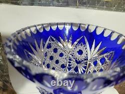 Cobalt Blue Bohemian Czech Hand Cut to Clear Glass Flower Vase 8 Fabulous