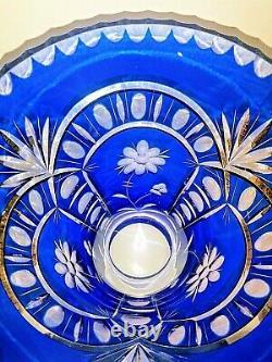 Cobalt Blue Crystal Vase Cut To Clear Bohemian Czech Vintage Decor 12