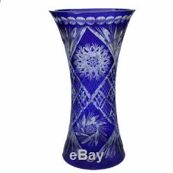 Cobalt Cut to Clear Glass Vase